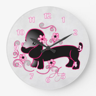 Cute Black Dachshund Large Clock
