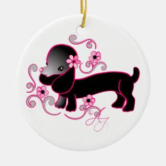 Cute Black Dachshund Double-Sided Ceramic Round Christmas Ornament