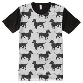Cute Black Dachshund Pattern All-Over-Print T-Shirt
