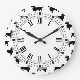 Cute Black Dachshund Pattern Large Clock
