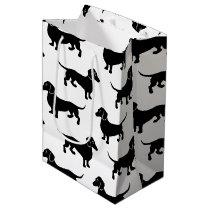 Cute Black Dachshund Pattern Medium Gift Bag