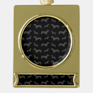 Cute black dachshund pattern gold plated banner ornament