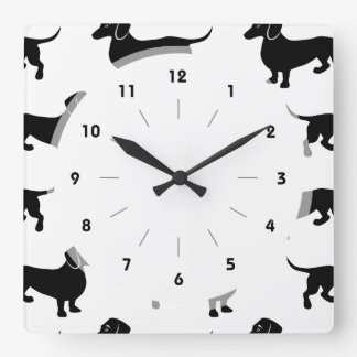 Cute Black Dachshund Pattern Square Wall Clock