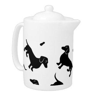 Cute Black Dachshund Pattern Teapot