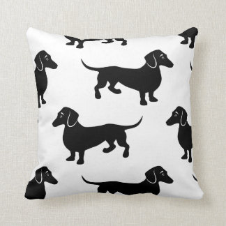 Cute Black Dachshund Pattern Throw Pillow