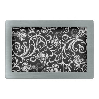 Cute black dalmatian flowers background design rectangular belt buckle