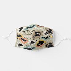 Cute Black Dinosaur Dino Party Cloth Face Mask