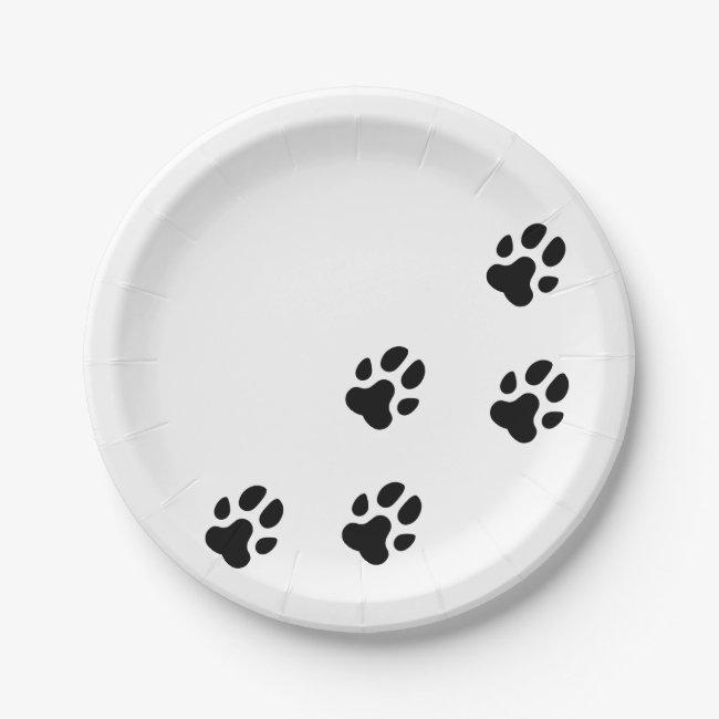 Cute Black Dog Paw Prints
