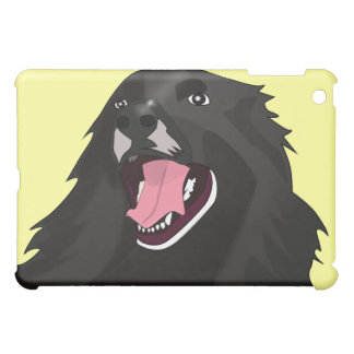 Cute Black Dog With its tongue out - Vector Art iPad Mini Cover