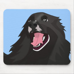 Cute Black Dog With its tongue out - Vector Art Mouse Pad