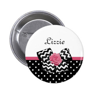 Cute Black Dots Pink Rose Chevron Bow and Name Button