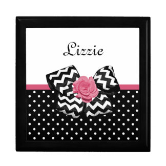 Cute Black Dots Pink Rose Chevron Bow and Name Gift Box