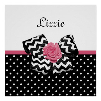 Cute Black Dots Pink Rose Chevron Bow and Name Poster