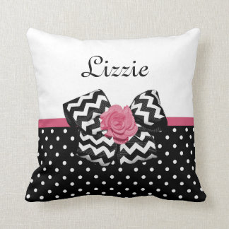Cute Black Dots Pink Rose Chevron Bow and Name Throw Pillow