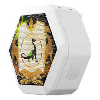 Cute black dragon on a shield with floral elements white boombot rex bluetooth speaker