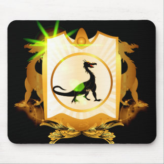 Cute black dragon on a shield with floral elements mouse pad
