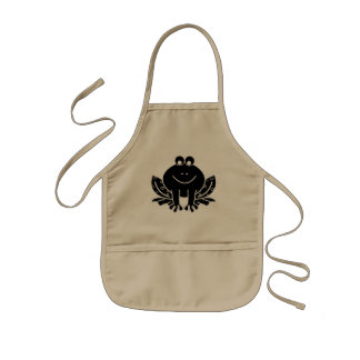 cute black frog kids' apron