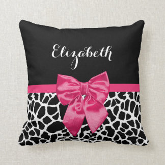 Cute Black Giraffe Print Girly Pink Bow and Name Throw Pillow