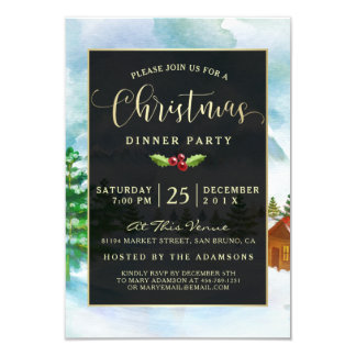 Cute Black & Gold on Watercolor Christmas Party Card