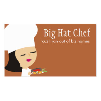 Cute black hair girl chef steak dinner biz cards Double-Sided standard business cards (Pack of 100)