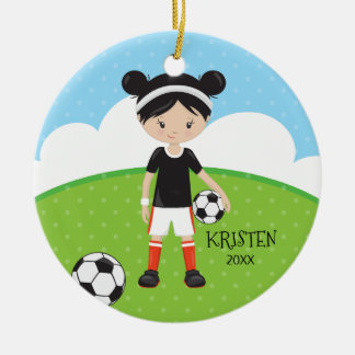 Cute Black Hair Girl Soccer Personalized Christmas Ceramic Ornament