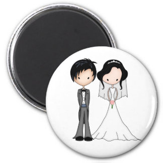 Cute Black Haired Bride and Groom Cartoon 2 Inch Round Magnet