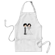 Cute Black Haired Bride and Groom Cartoon Adult Apron
