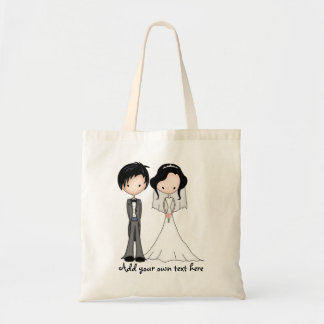Cute Black Haired Bride and Groom Cartoon Budget Tote Bag