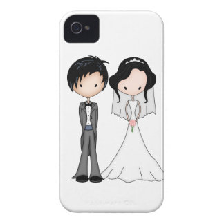 Cute Black Haired Bride and Groom Cartoon iPhone 4 Case