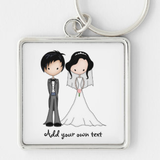 Cute Black Haired Bride and Groom Cartoon Keychains