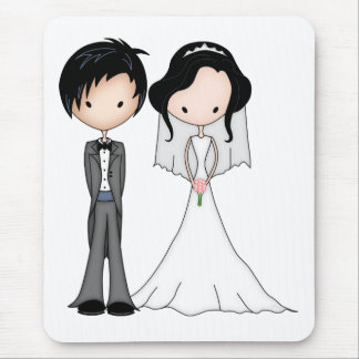 Cute Black Haired Bride and Groom Cartoon Mouse Pad