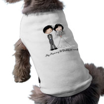 Cute Black Haired Bride and Groom Cartoon Tee