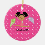 Cute Black Haired Gymnast  Christmas Ornament