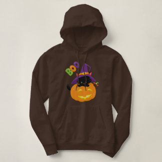 Cute Black Halloween Kitten in Jack O Lantern Hoodie