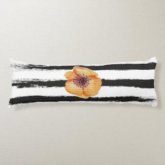 Cute Black Handmade Stripes Watercolor Flower Body Pillow