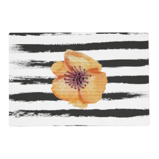 Cute Black Handmade Stripes Watercolor Flower Placemat