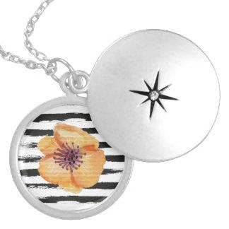 Cute Black Handmade Stripes Watercolor Flower Round Locket Necklace