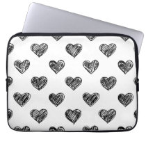 CUTE BLACK HEARTS DOODLES PATTERN LAPTOP SLEEVE