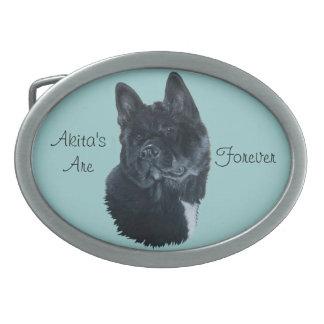 cute black Japanese akita dog portrait realist art Belt Buckles