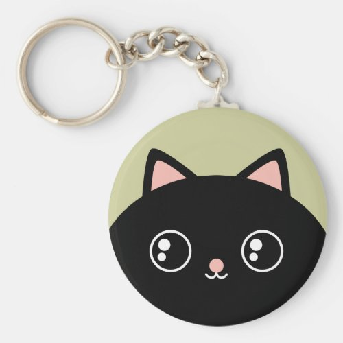 Cute Black Kawaii Kitty Round Keychain