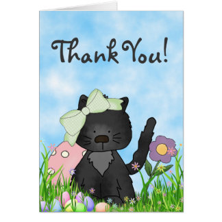 Cute Black Kitten and Easter Eggs Thank You Card