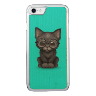 Cute Black Kitten Cat with Eye Glasses Blue Carved iPhone 7 Case