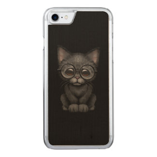 Cute Black Kitten Cat with Eye Glasses Carved iPhone 7 Case