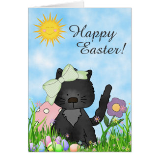 Cute Black Kitten, Colorful Eggs Happy Easter Cat Card