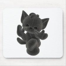 Cute black kitten mouse mats