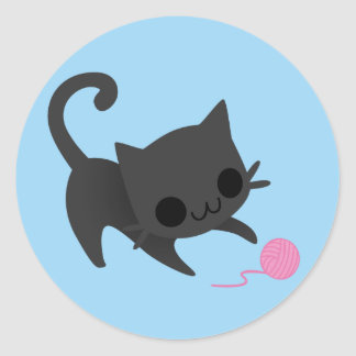 Cute Black Kitten Playing with a Ball of Yarn Classic Round Sticker