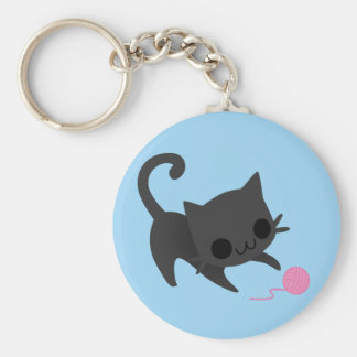 Cute Black Kitten Playing with a Ball of Yarn Keychains