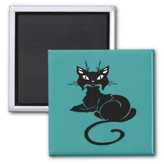Cute Black Kitty 2 Inch Square Magnet