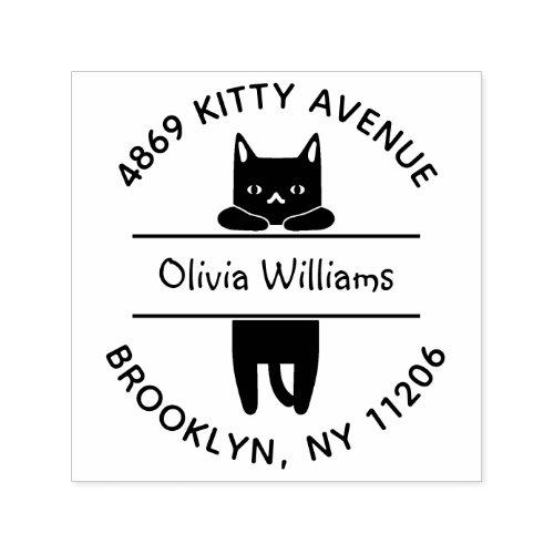 Cute Black Kitty Cat Cartoon Round Return Address Self_inking Stamp