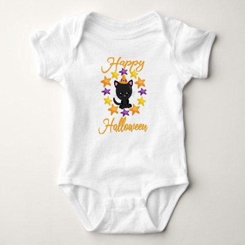 Cute Black Kitty Cat Happy Halloween Party Gift Baby Bodysuit